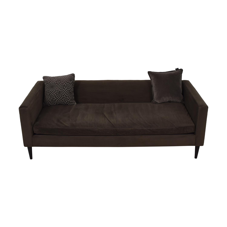 CB2 Brown Sofa with Two Throw Pillows / Sofas