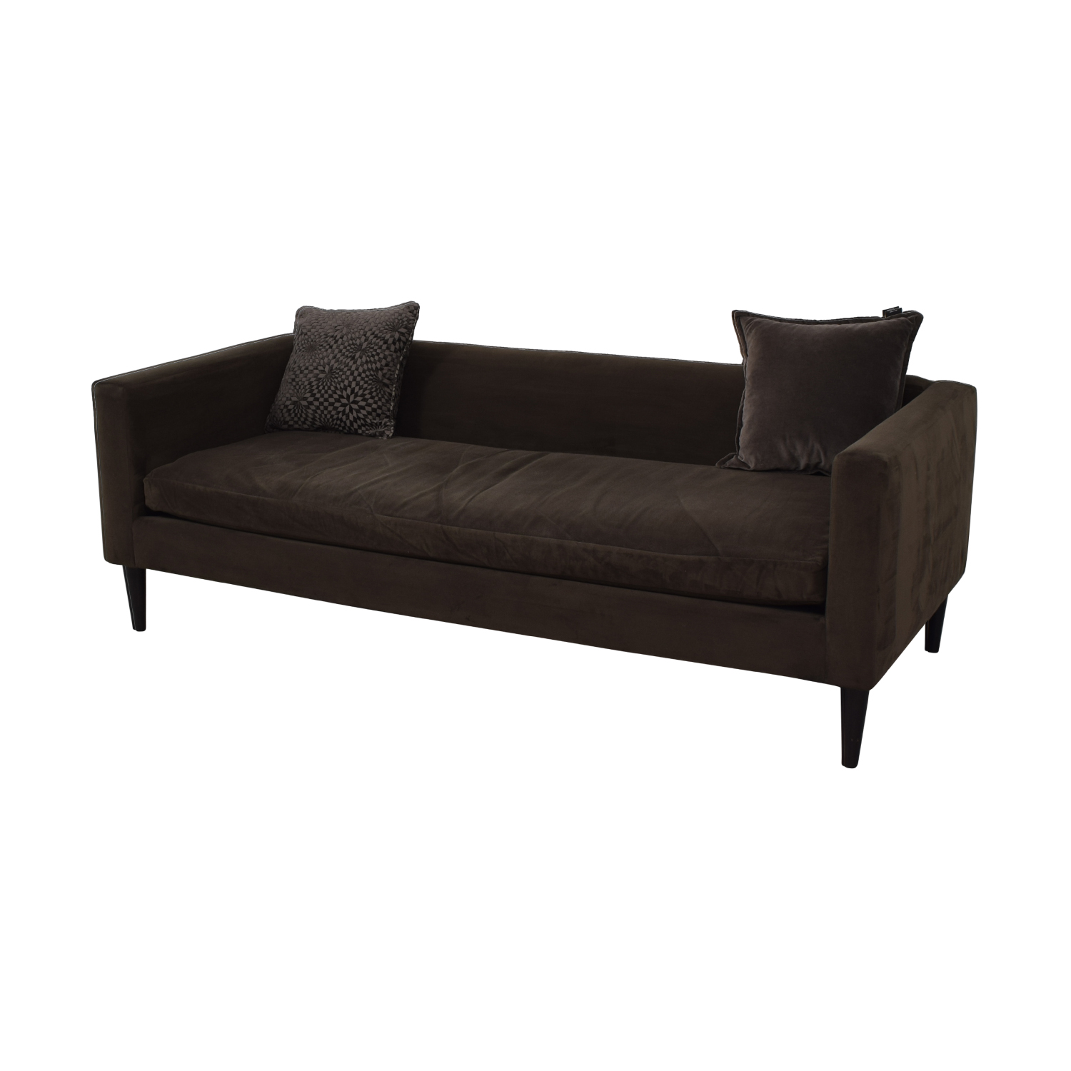 shop CB2 Brown Sofa with Two Throw Pillows CB2