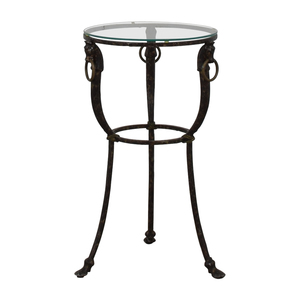 shop Antique Round Glass and Iron Table