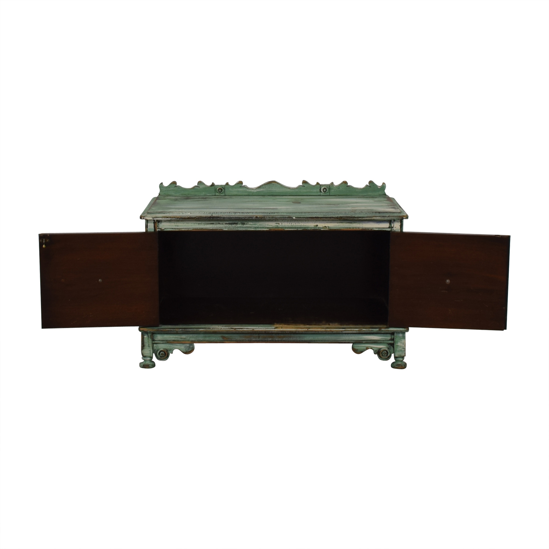 Vintage Distressed Green Storage Bench / Cabinets & Sideboards