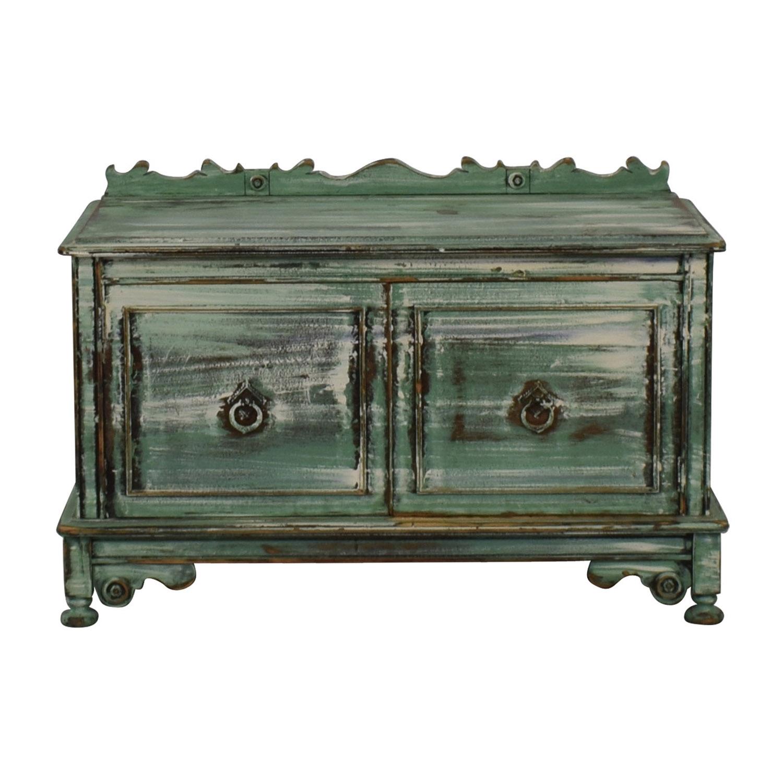 buy Vintage Distressed Green Storage Bench