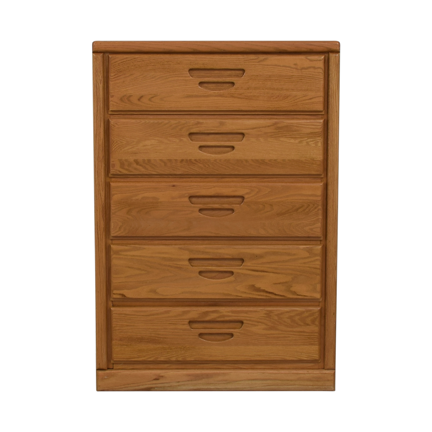 Oak Five-Drawer Tall Dresser dimensions