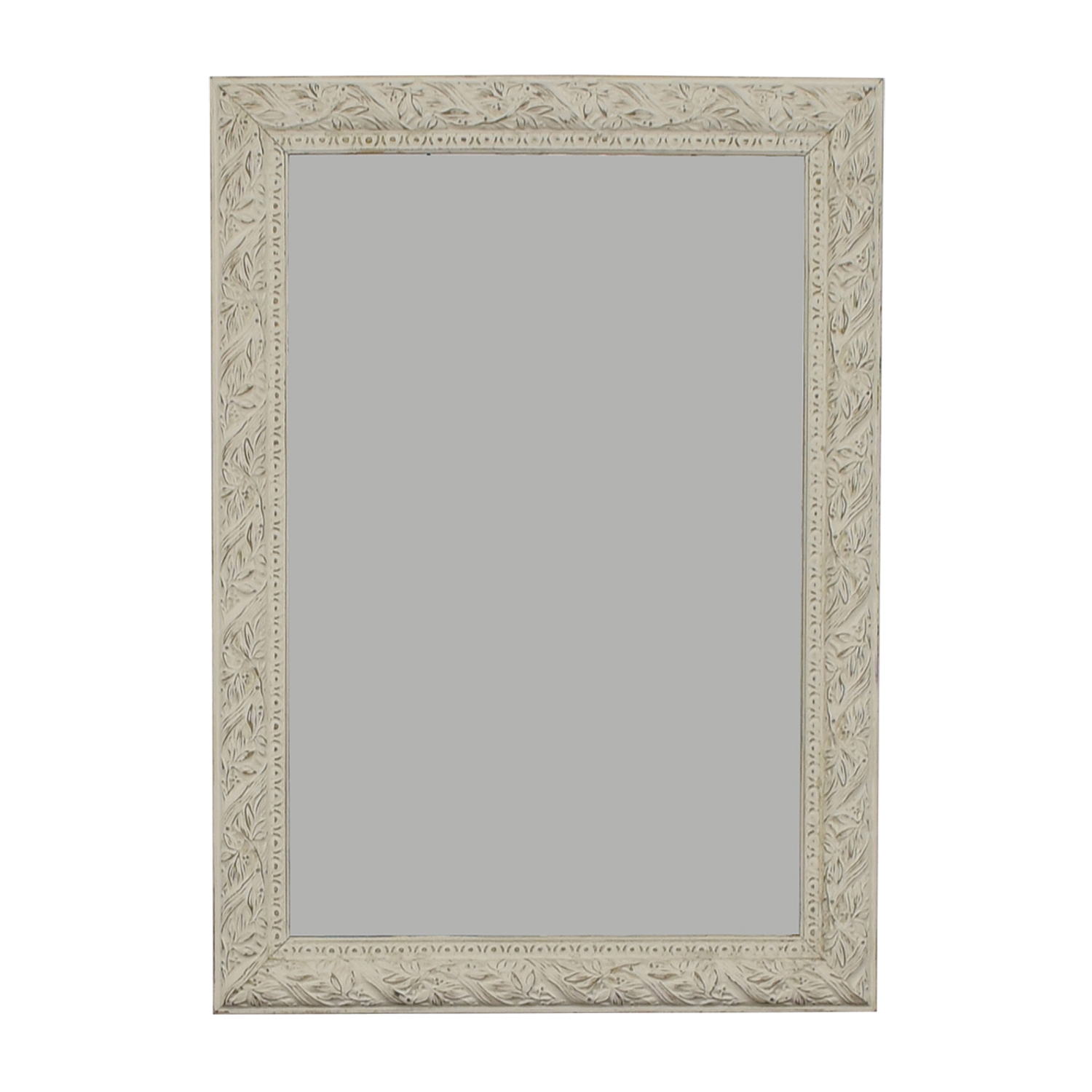 Distressed White Antique Shabby Chic Mirror on sale