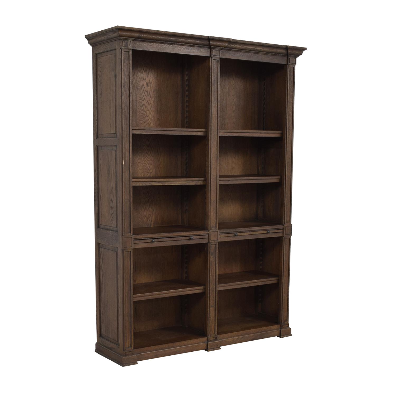 buy Restoration Hardware Wood Library Bookcase with Desk Restoration Hardware