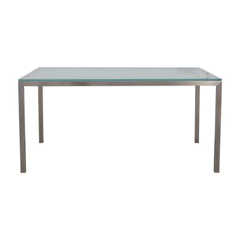 Room & Board Portica Glass and Chrome Dining Table / Tables