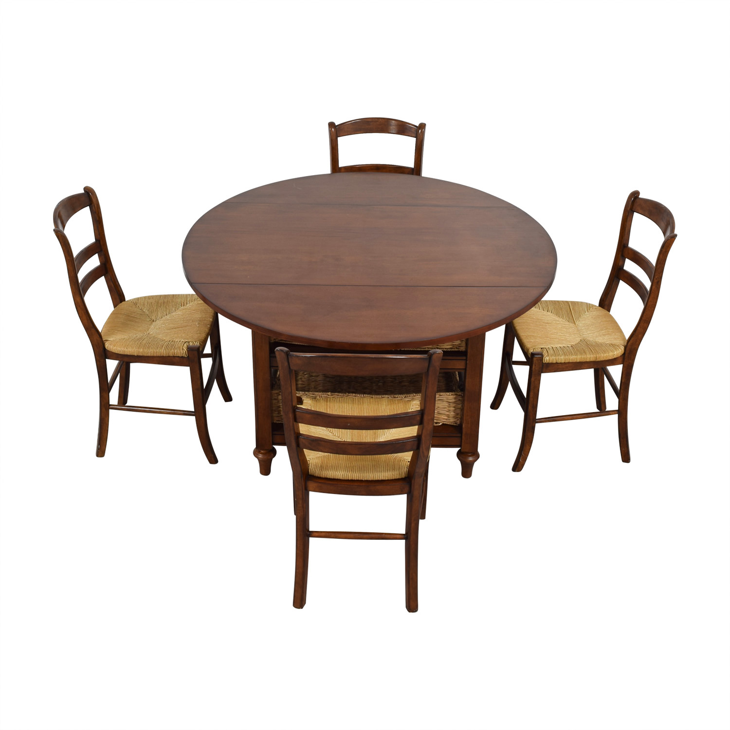 Pottery Barn Shayne Drop Leaf Dining Set with Storage Baskets Pottery Barn