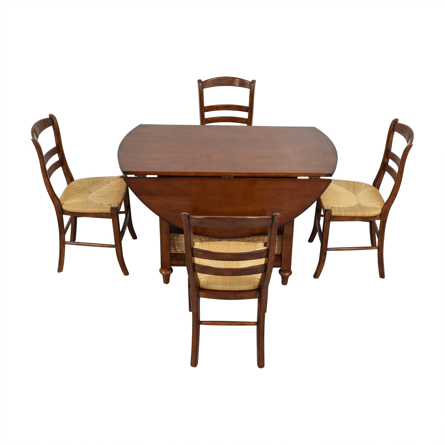 Pottery Barn Pottery Barn Shayne Drop Leaf Dining Set with Storage Baskets brown