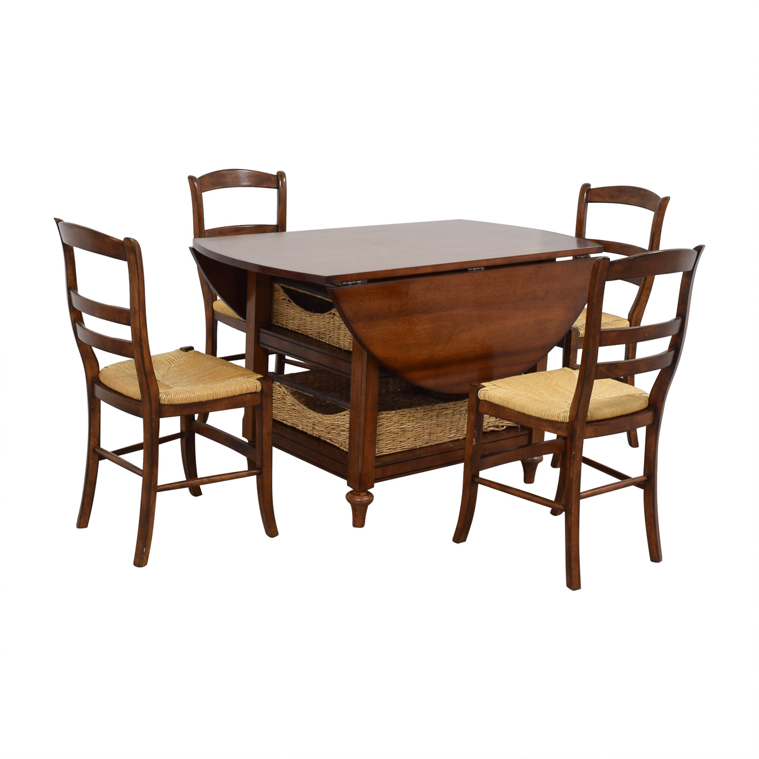 80% OFF - Pottery Barn Pottery Barn Shayne Drop Leaf Dining Set with  Storage Baskets / Tables