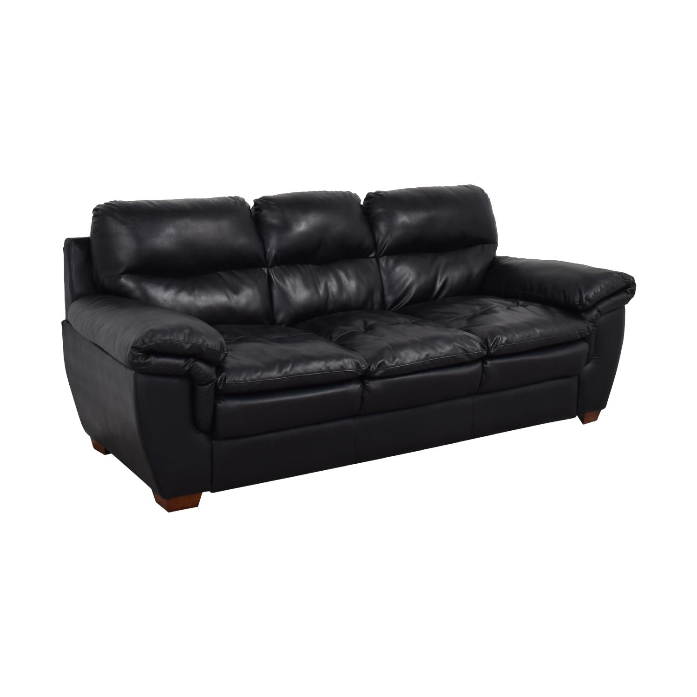 Jennifer Furniture Wilton Black Three-Cushion Sofa / Sofas