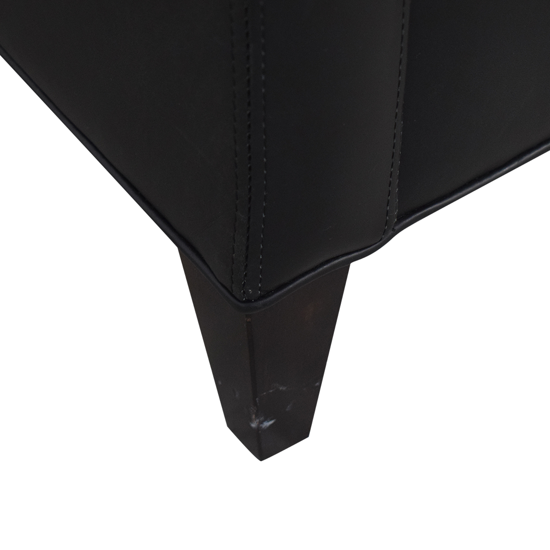 Crate & Barrel Crate & Barrel Black Leather Three-Cushion Sofa