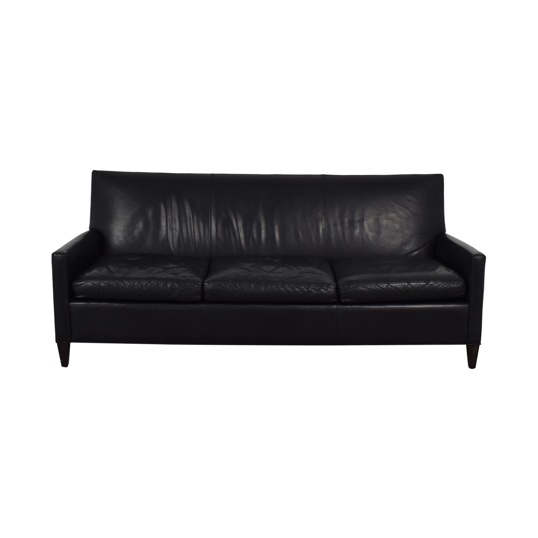 Crate & Barrel Black Leather Three-Cushion Sofa / Sofas