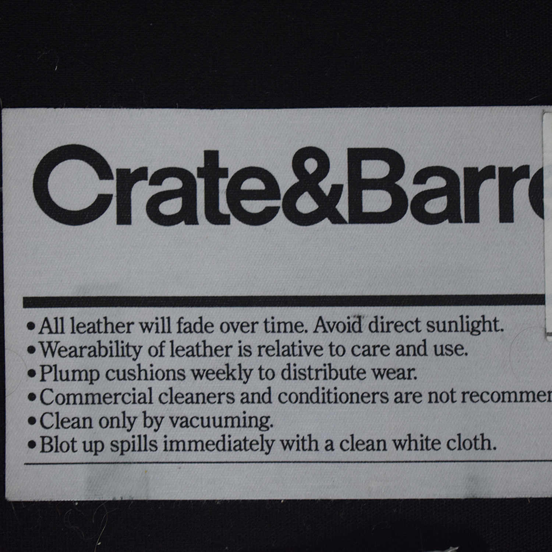 Crate & Barrel Crate & Barrel Black Leather Three-Cushion Sofa dimensions