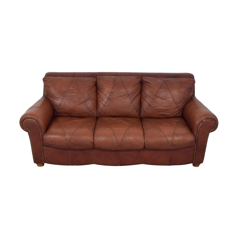 shop Brown Leather Nailhead Three-Cushion Couch  Classic Sofas