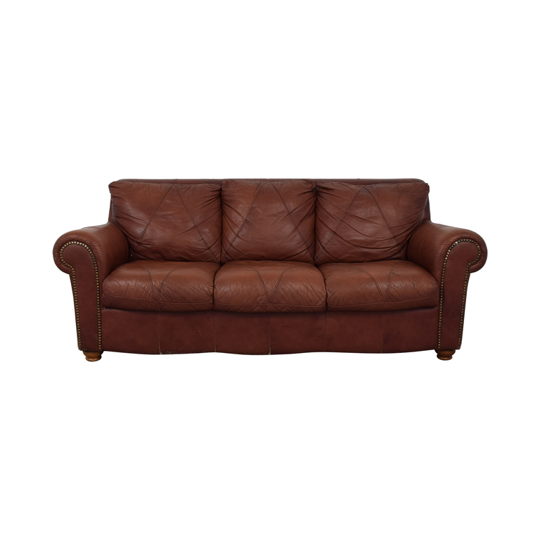 Brown Leather Nailhead Three-Cushion Couch nyc