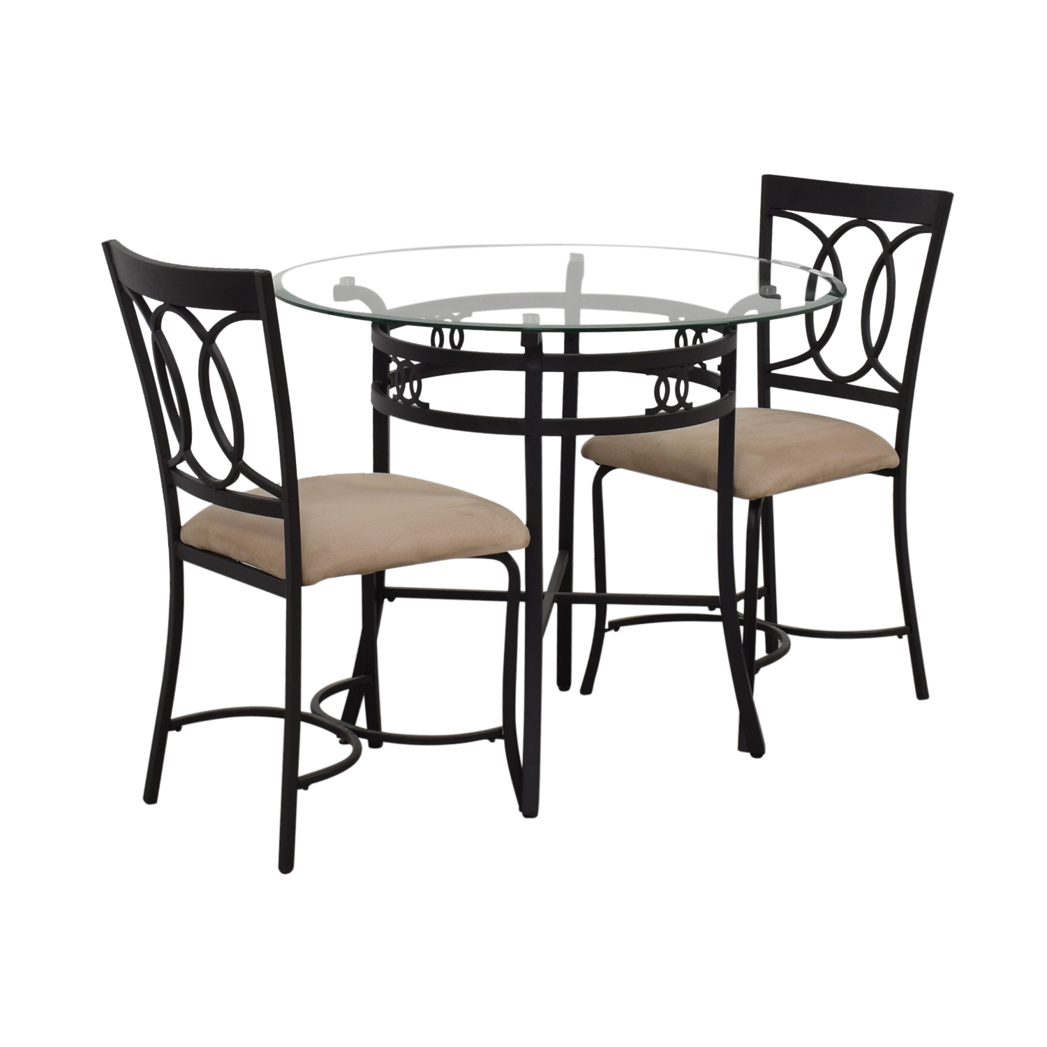 Round Glass and Black Dining Set / Dining Sets