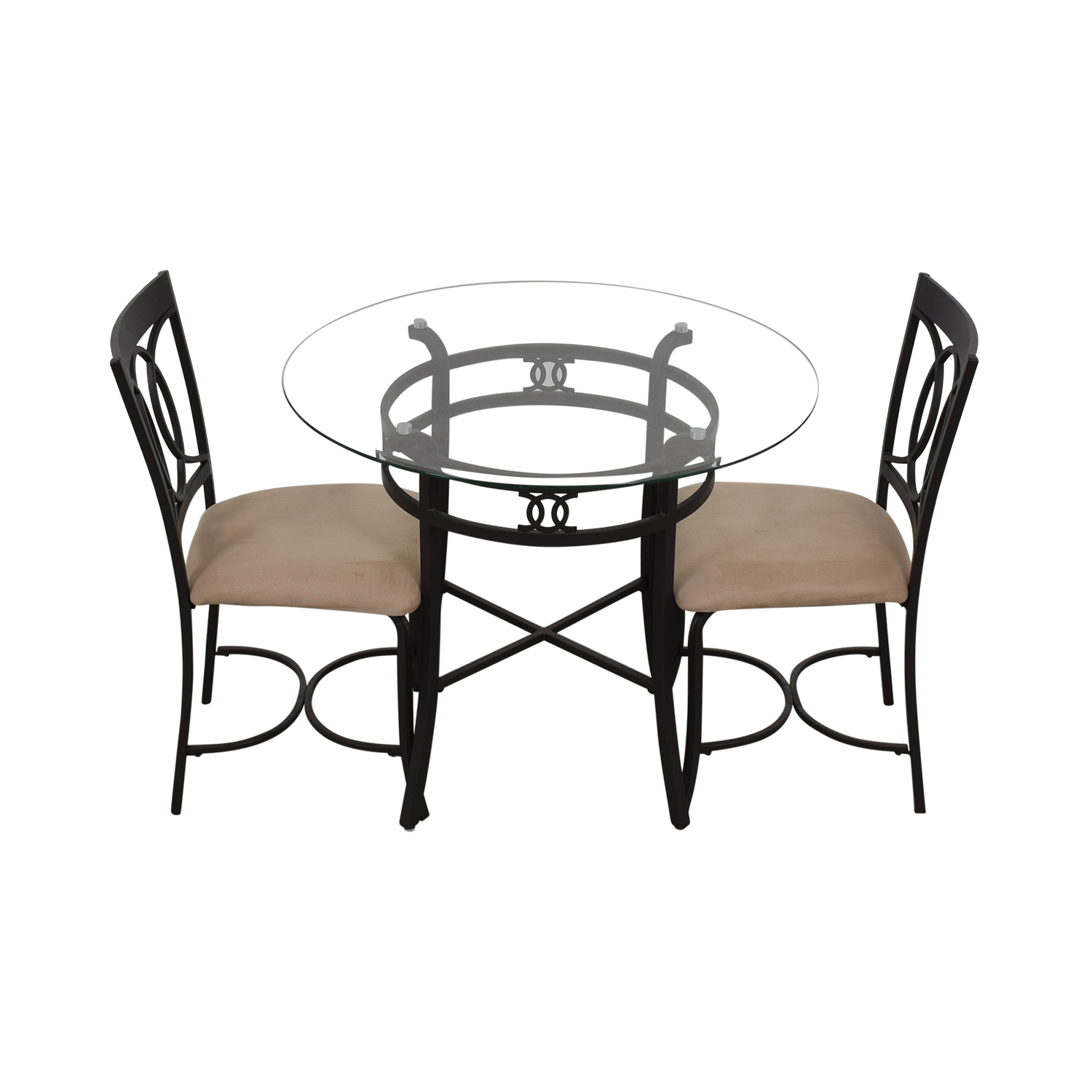 buy Round Glass and Black Dining Set