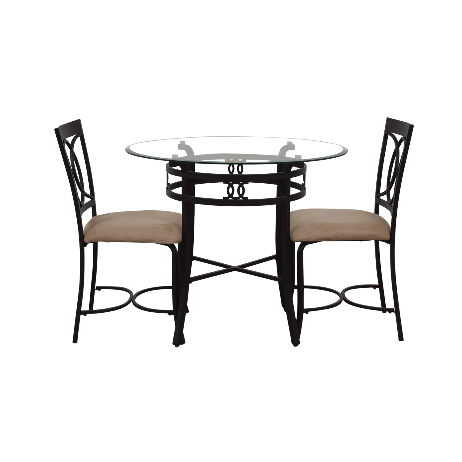 shop Round Glass and Black Dining Set  Dining Sets