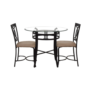 shop Round Glass and Black Dining Set