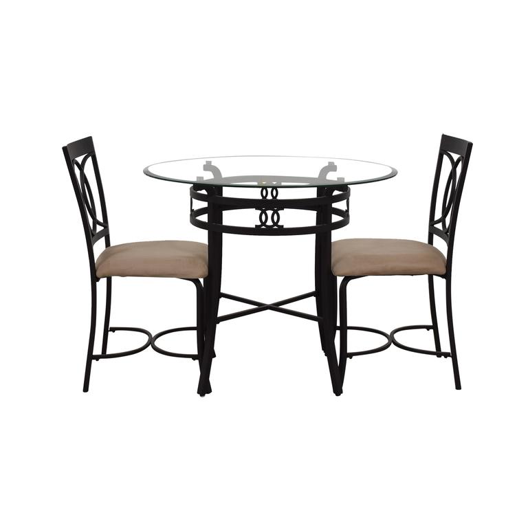 Round Glass and Black Dining Set nj