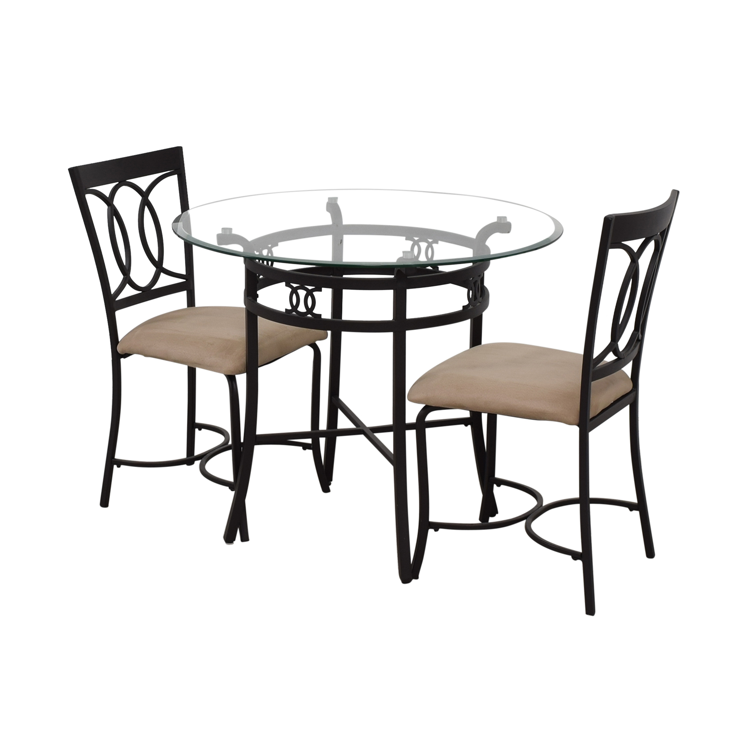 buy  Round Glass and Black Dining Set online