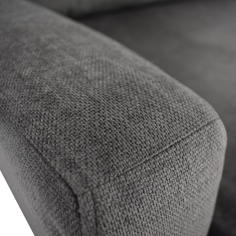 West Elm West Elm Grey Velvet Two-Cushion Sofa nj