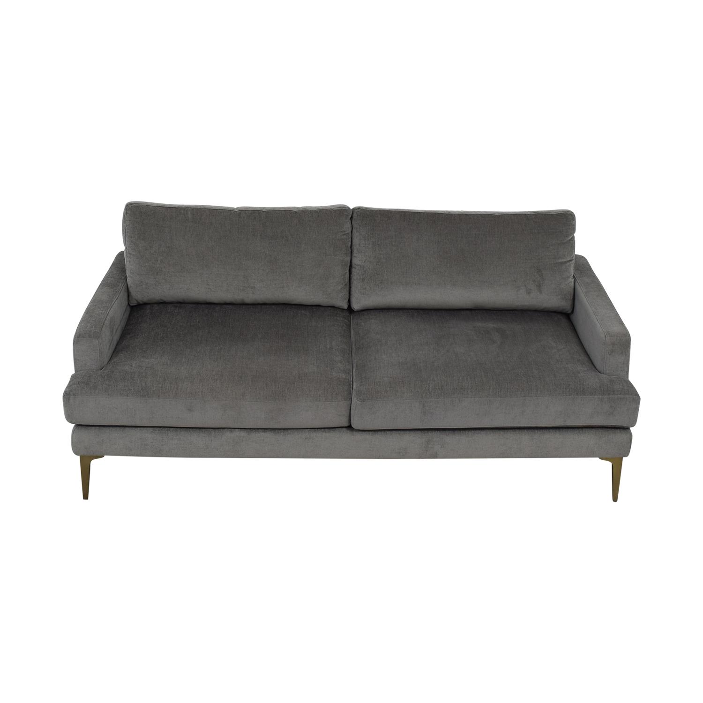 West Elm West Elm Grey Velvet Two-Cushion Sofa for sale