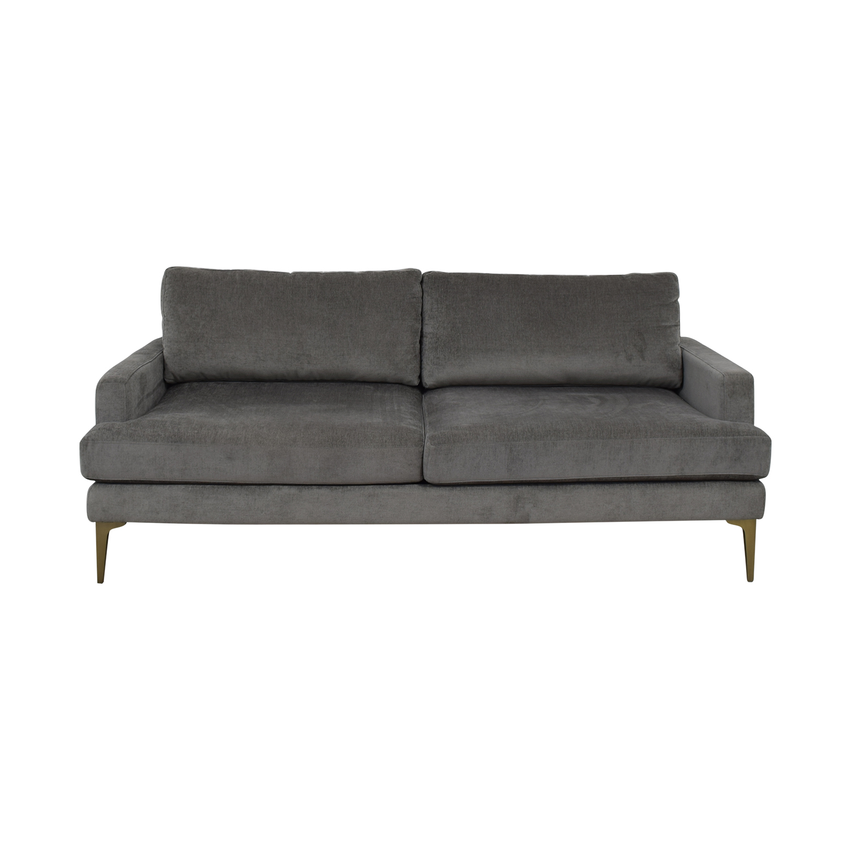 West Elm Grey Velvet Two-Cushion Sofa / Sofas