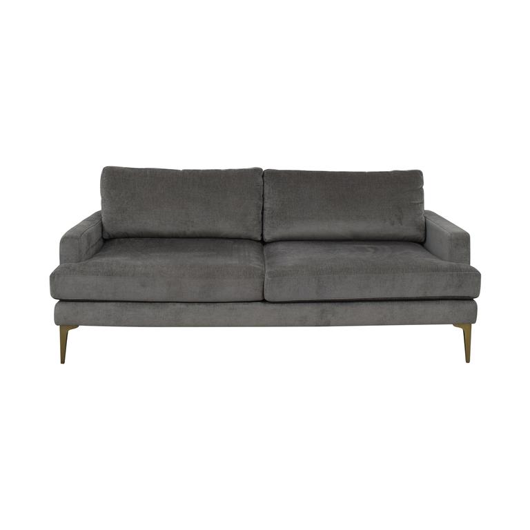 West Elm West Elm Grey Velvet Two-Cushion Sofa second hand