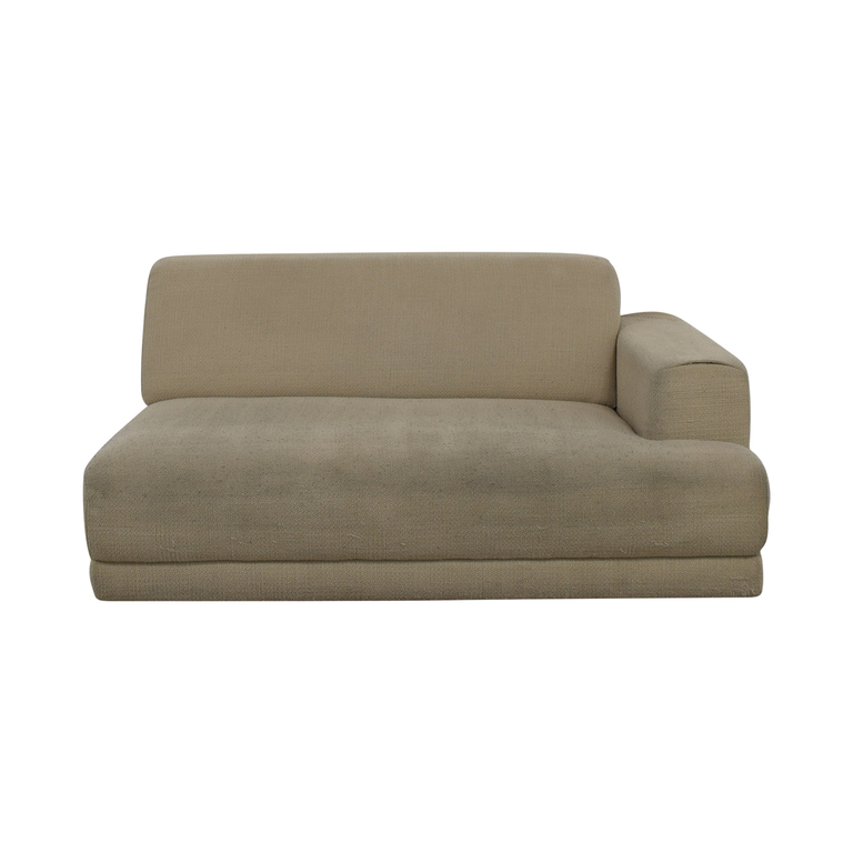 Crate & Barrel Beige One Armed Chaise Sofa sale