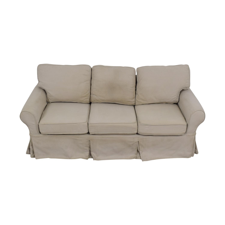 Pottery Barn Pottery Barn Beige Three-Cushion Skirted Sofa