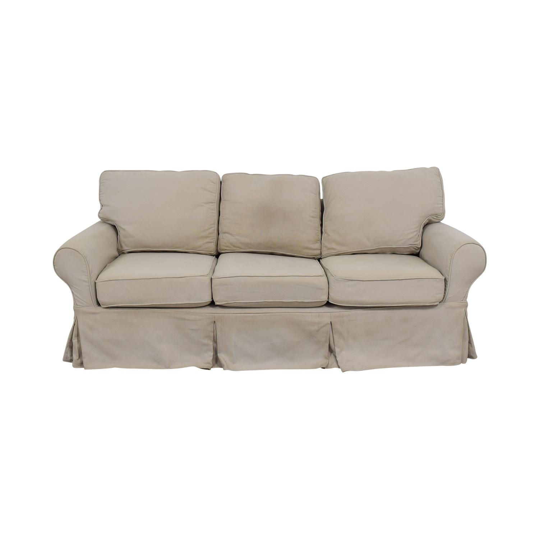 Pottery Barn Beige Three-Cushion Skirted Sofa / Classic Sofas