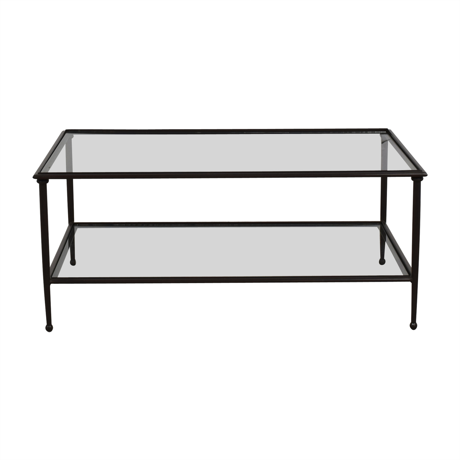 Crate & Barrel Crate & Barrel Glass and Black Coffee Table on sale