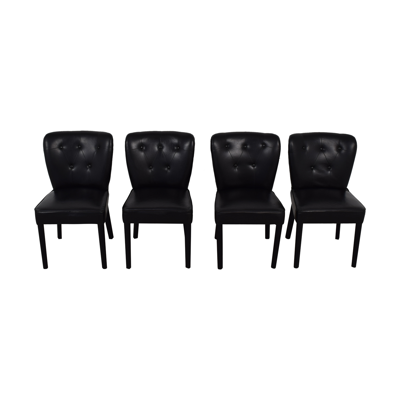 Arhaus Arhaus Black Leather and Dark Espresso Wood Chairs Chairs