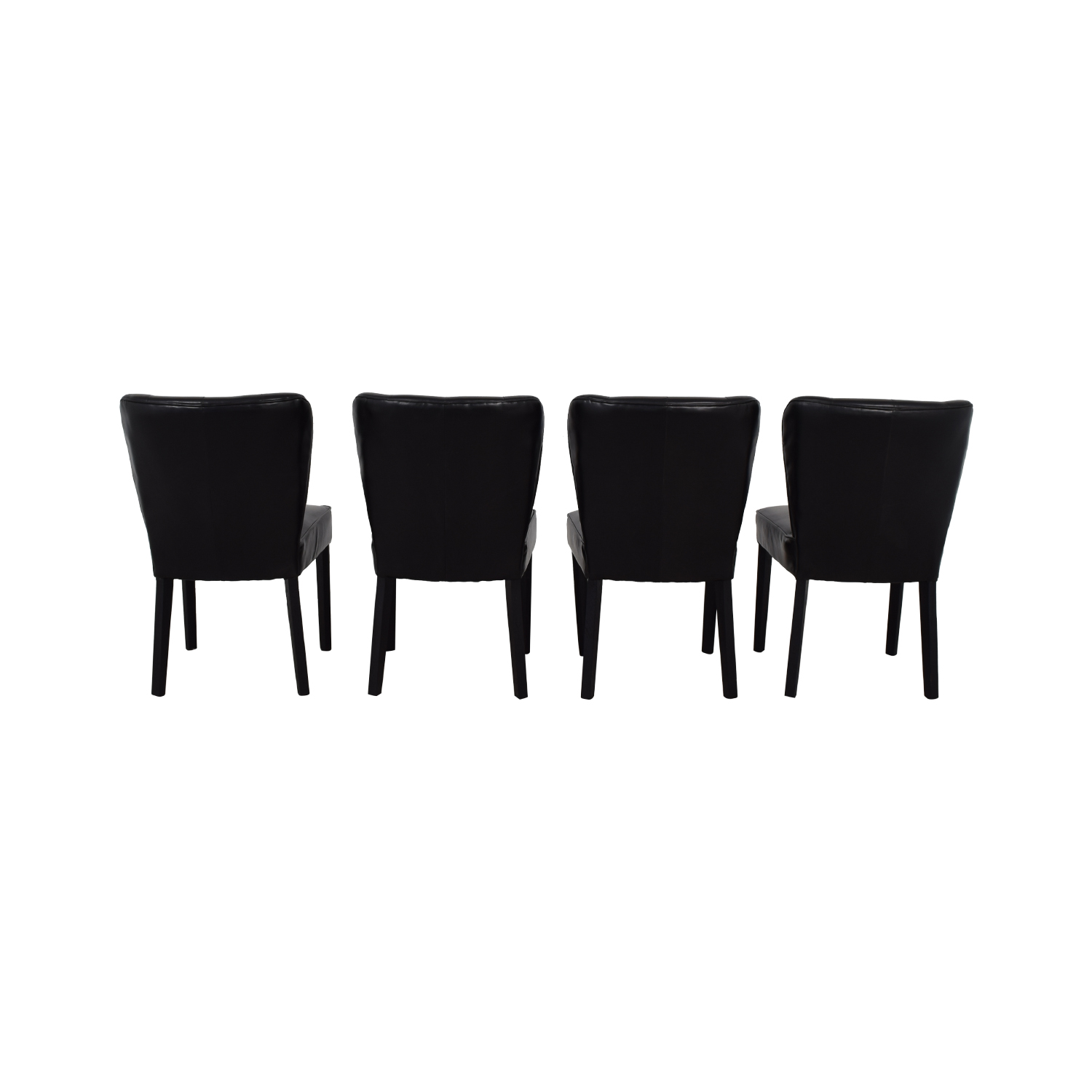 Arhaus Arhaus Black Leather and Dark Espresso Wood Chairs coupon