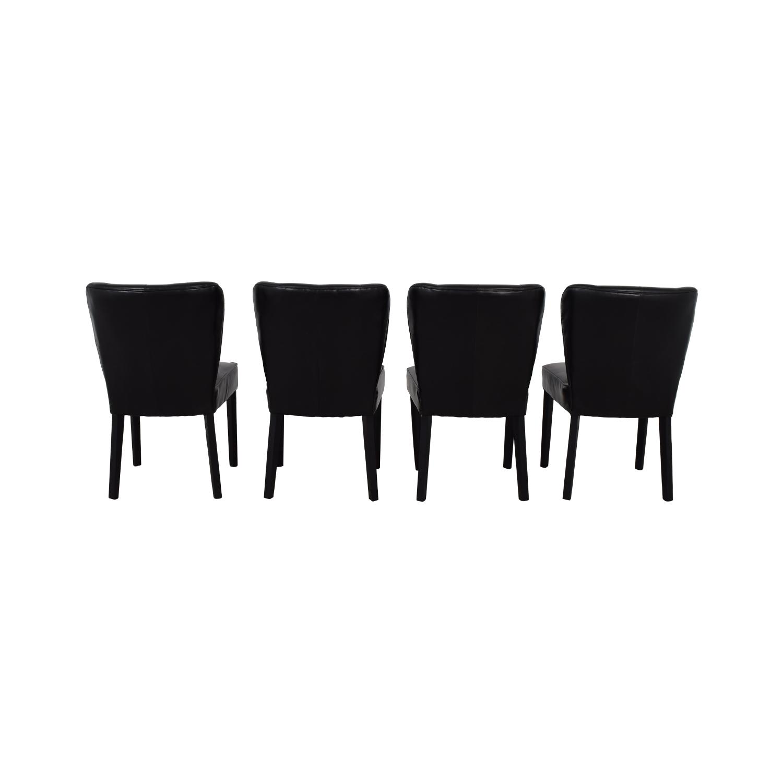 shop Arhaus Black Leather and Dark Espresso Wood Chairs Arhaus Chairs