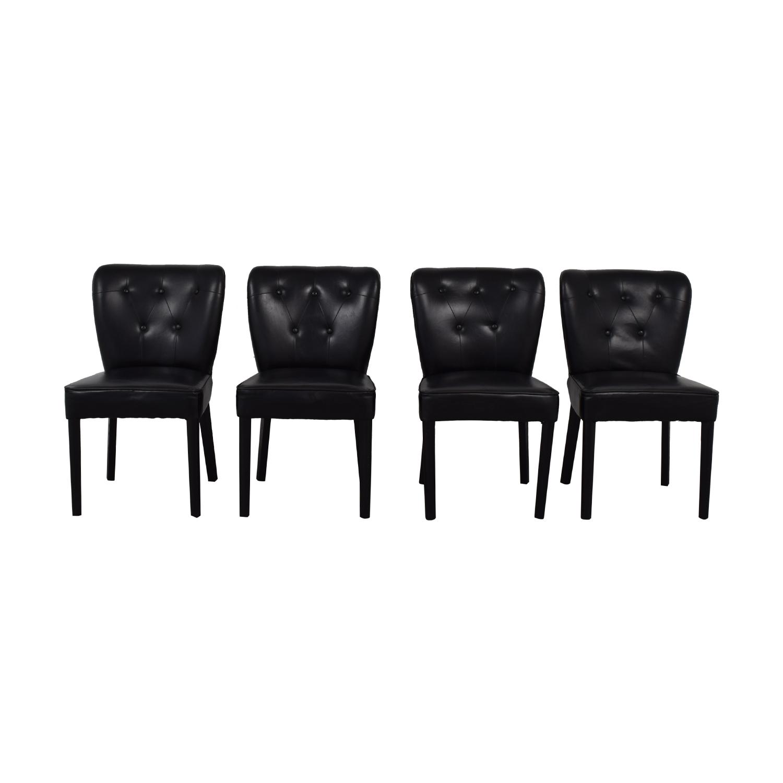 Arhaus Arhaus Black Leather and Dark Espresso Wood Chairs coupon