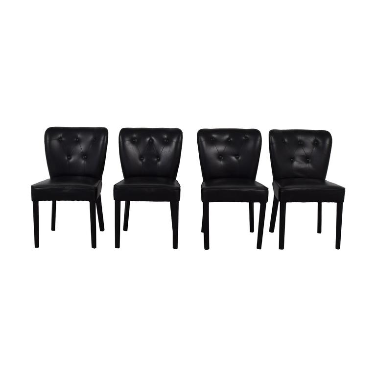 Arhaus Arhaus Black Leather and Dark Espresso Wood Chairs on sale