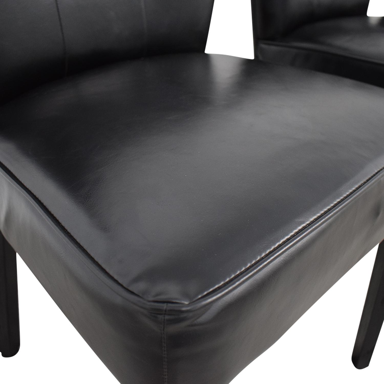 buy Arhaus Arhaus Black Leather and Dark Espresso Wood Chairs online