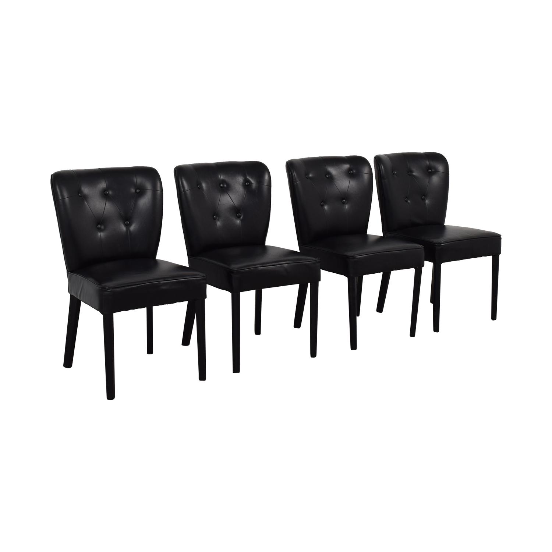 Arhaus Arhaus Black Leather and Dark Espresso Wood Chairs