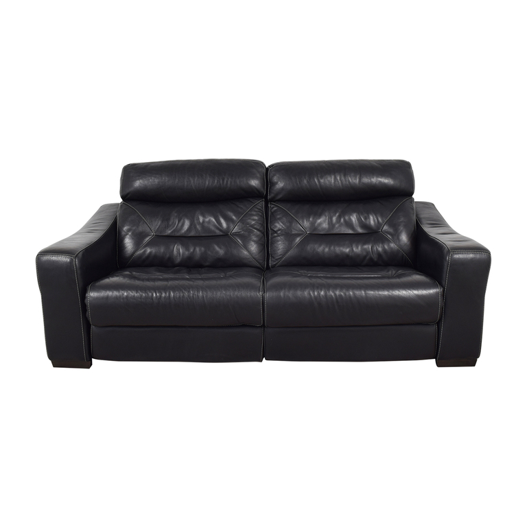 Macy's Macy's Black Leather Recliner Sofa