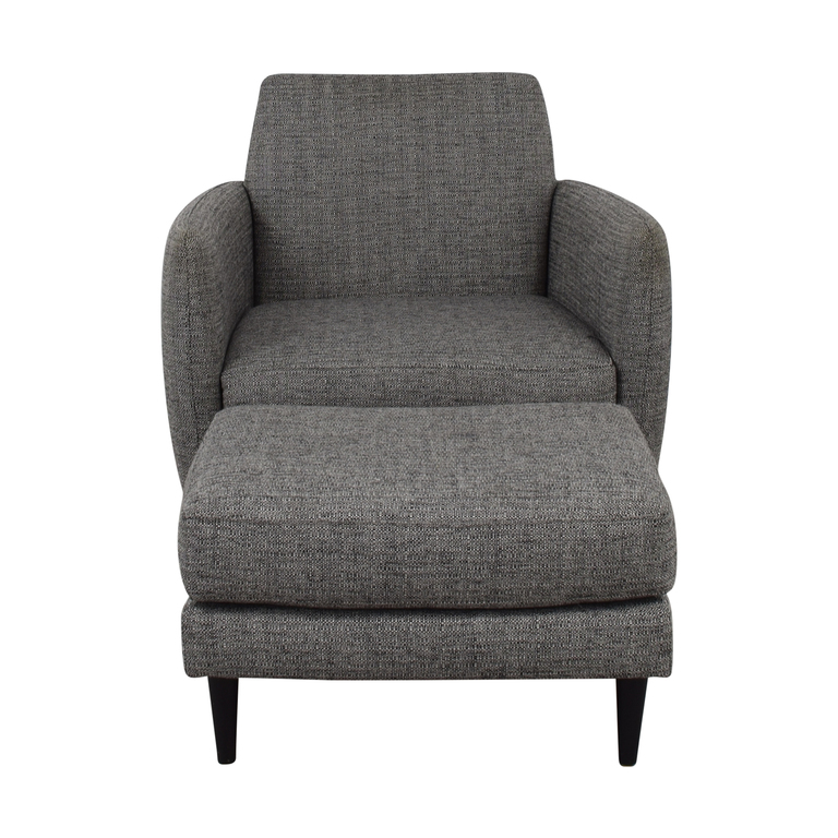 shop CB2 Grey Upholstered Parlour Chair and Ottoman CB2 Chairs