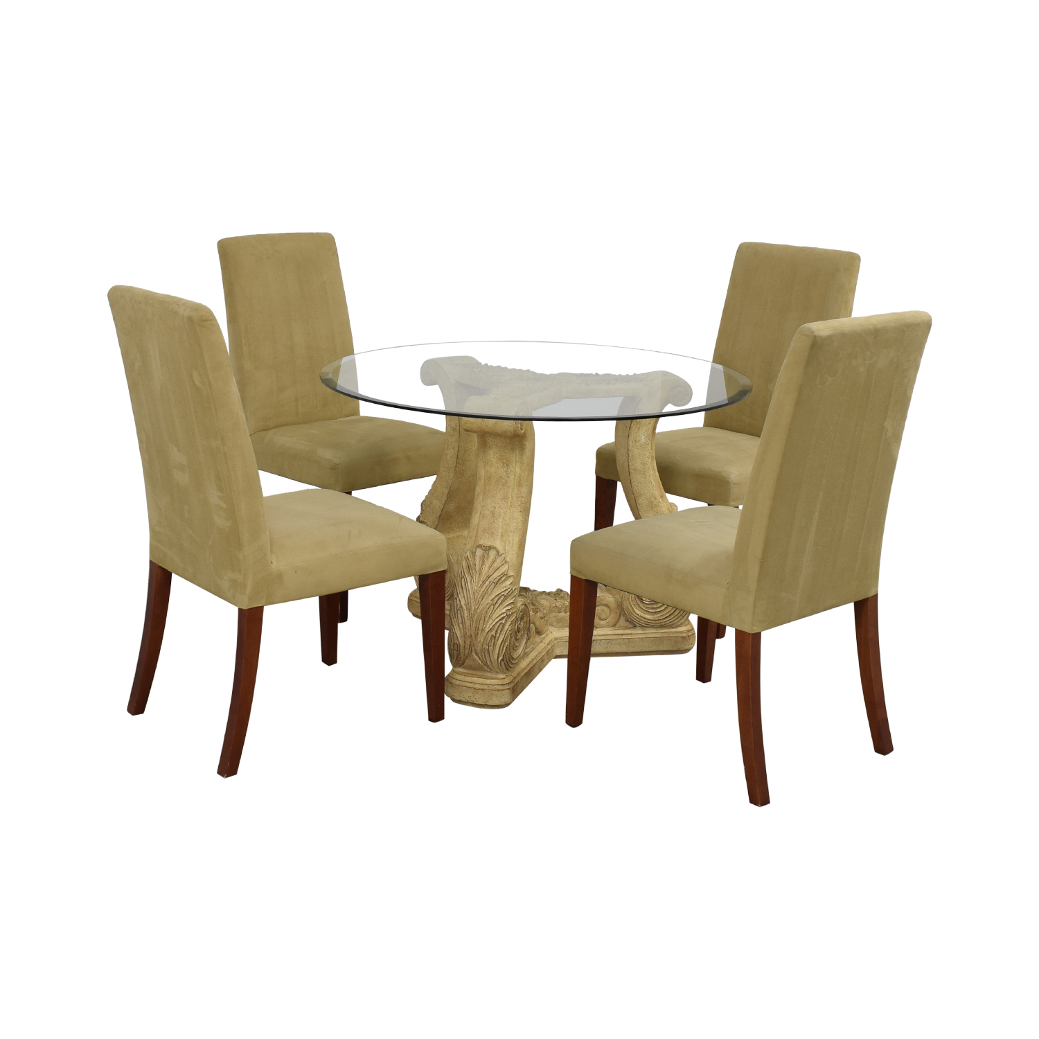 Round Glass Upholstered Dining Set Dining Sets