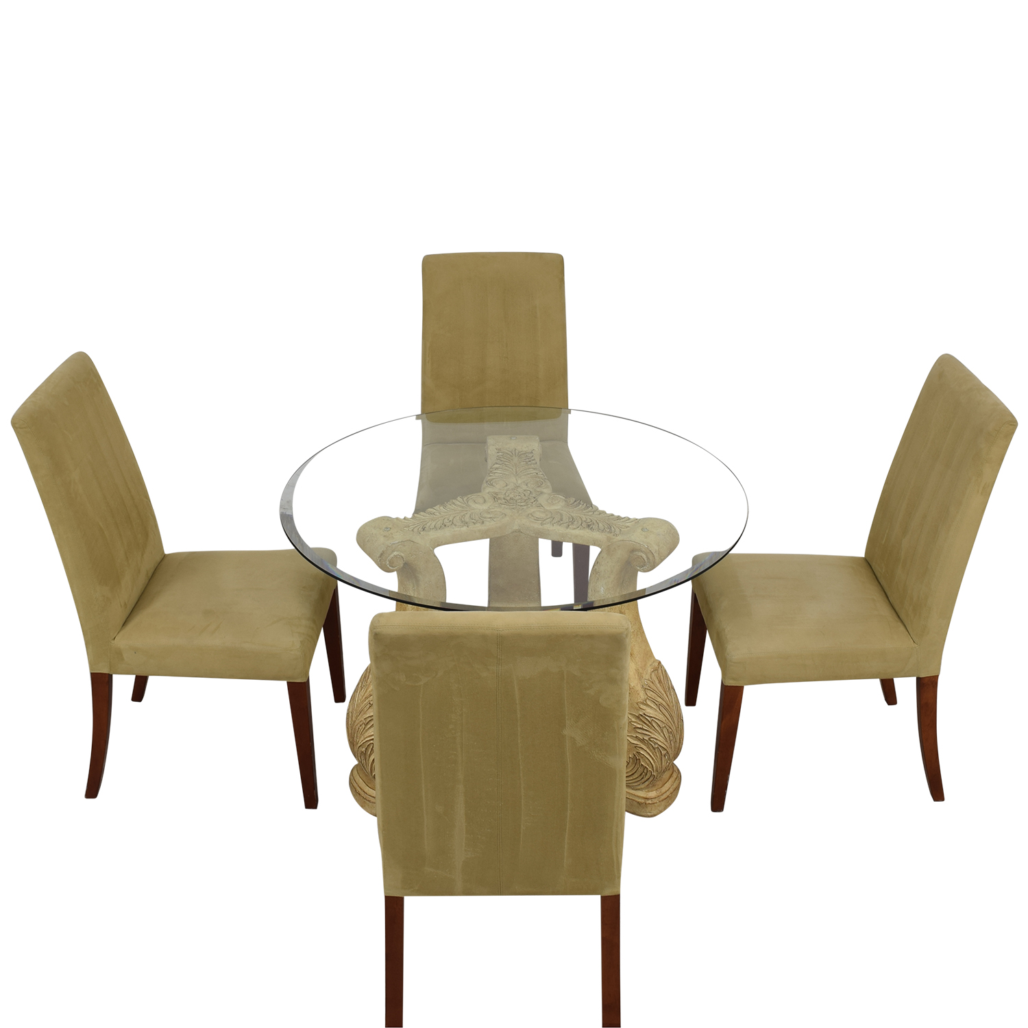 Round Glass Upholstered Dining Set for sale