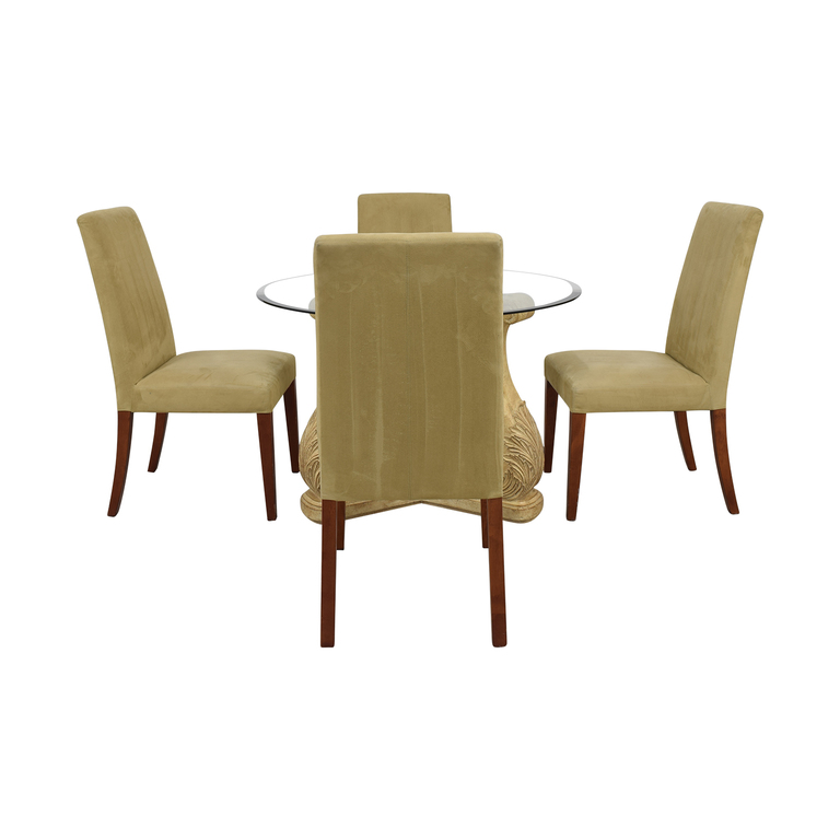 Round Glass Upholstered Dining Set discount