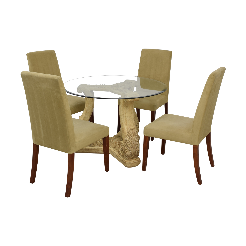 Round Glass Upholstered Dining Set nj