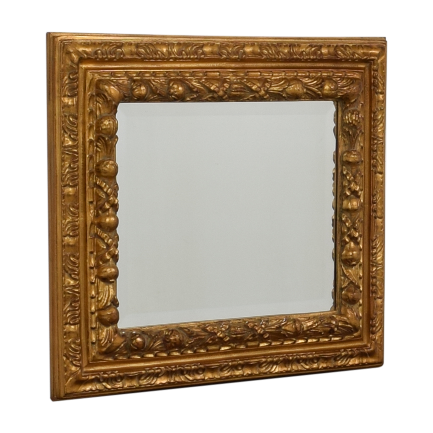 Gold Distressed Wood Framed Wall Mirror