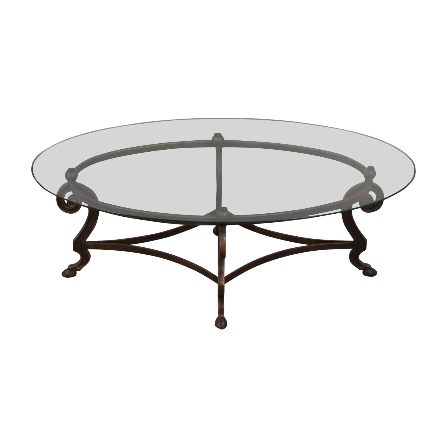 Oval Glass and Iron Cocktail Table