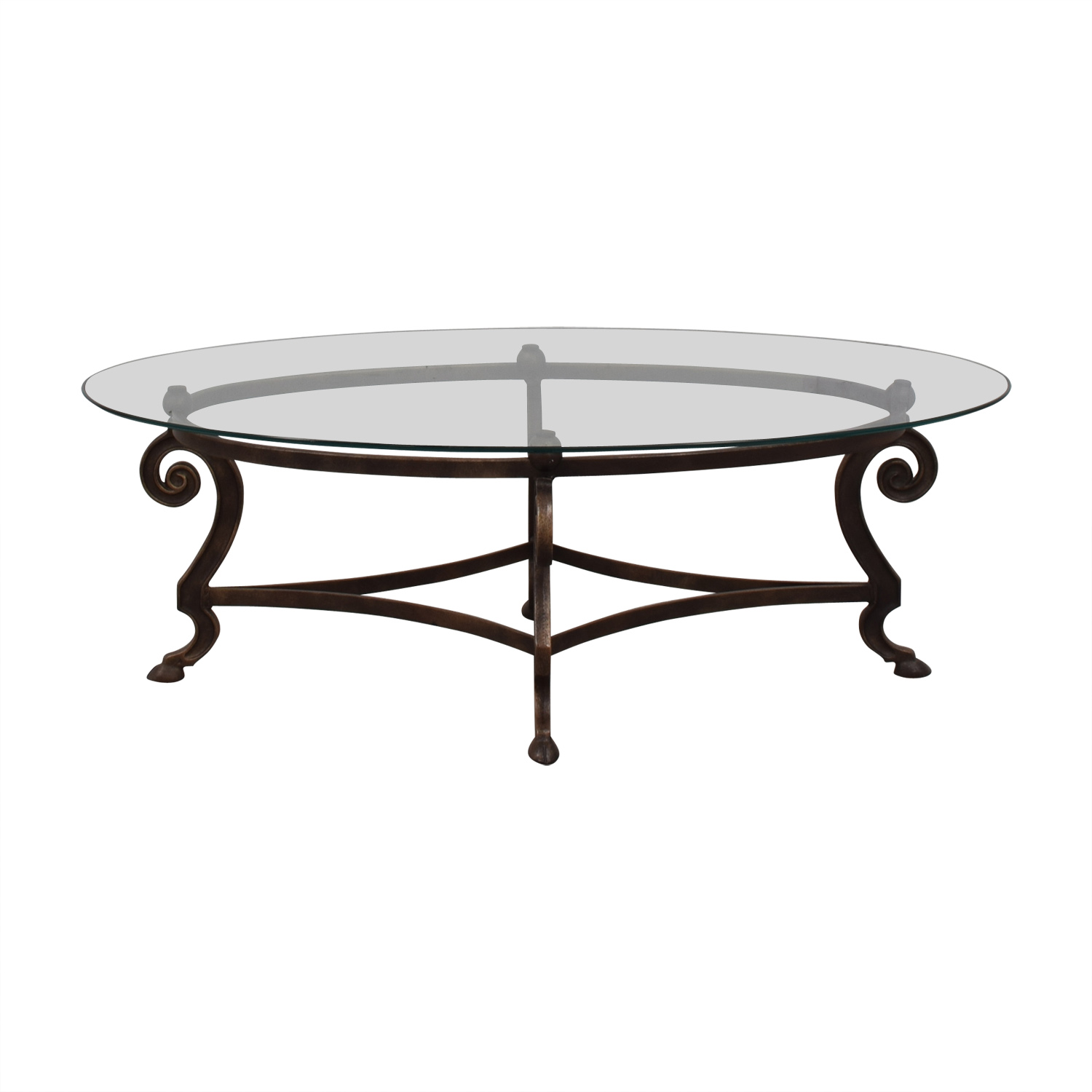 Oval Glass and Iron Cocktail Table used