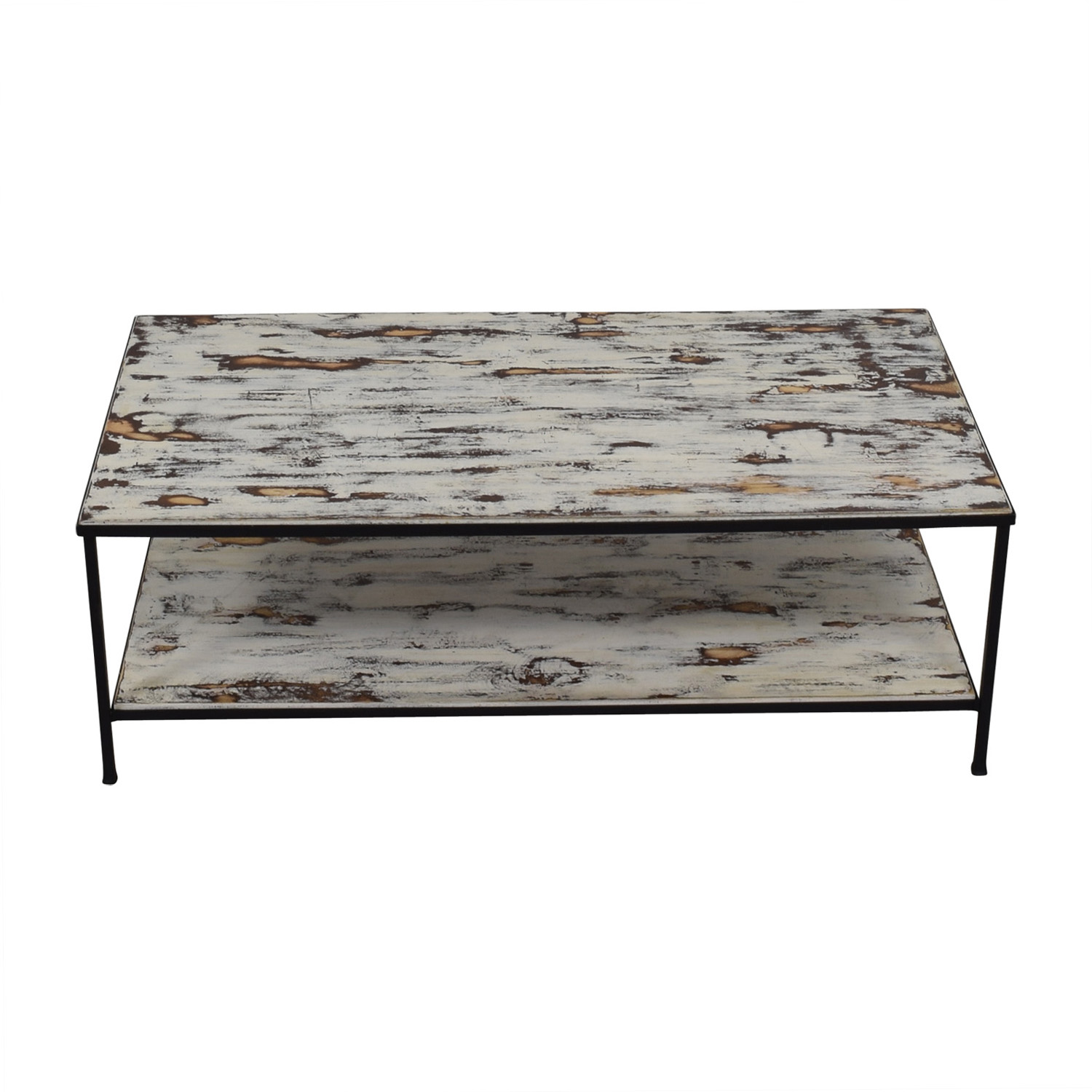 Rustic Distressed Wood Coffee Table second hand