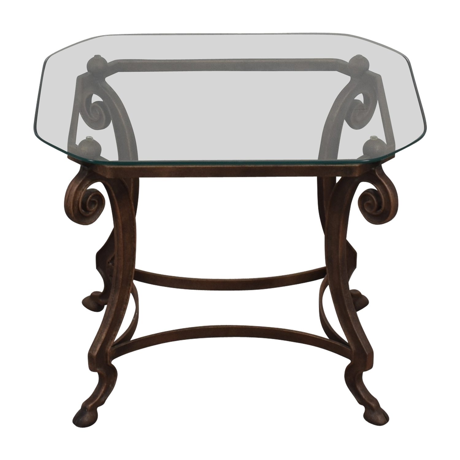 buy  Square Glass and Iron End Table online